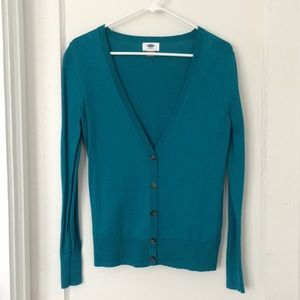 teal blue professional cardigan